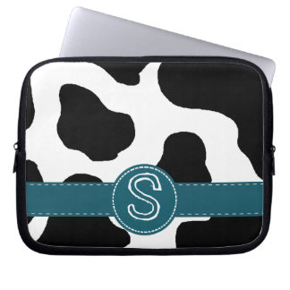 Dairy Cow Pattern with Teal and Monogram Laptop Sleeve