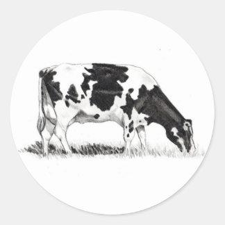 DAIRY COW, PENCIL ART ROUND STICKER