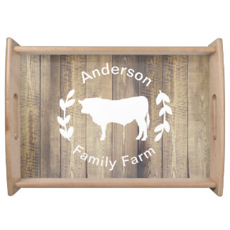 Dairy Farm Country Rustic Family Name Bull Serving Tray