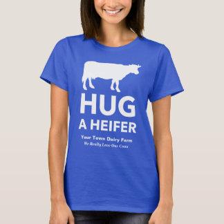 Dairy Farm Slogan Funny Hug a Heifer T-Shirt