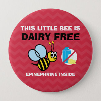 Dairy Free Bee Personalized Allergy Alert 10 Cm Round Badge