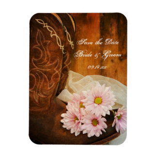Daisies and Boots Country Wedding Save the Date Vinyl Magnet