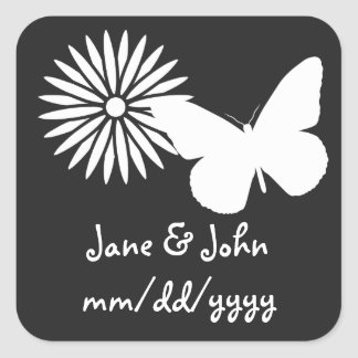 Daisies and Butterflies in Black Sticker
