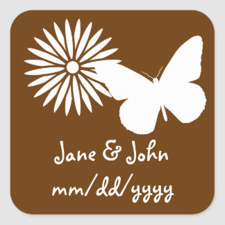Daisies and Butterflies in Chocolate Sticker