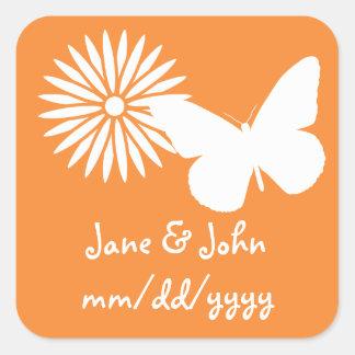 Daisies and Butterflies in Orange Sticker