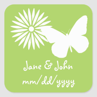 Daisies and Butterflies in Peridot Sticker
