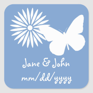 Daisies and Butterflies in Periwinkle Sticker
