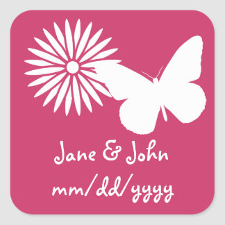 Daisies and Butterflies in Raspberry Sticker
