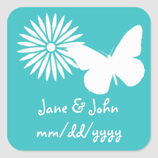 Daisies and Butterflies in Turquoise Sticker