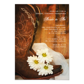Daisies and Cowboy Boots Country Bridal Shower 5x7 Paper Invitation Card