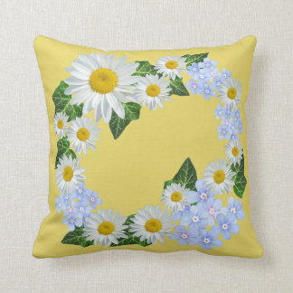 Daisies And Ivy With Blues Accent Flowers Cushion