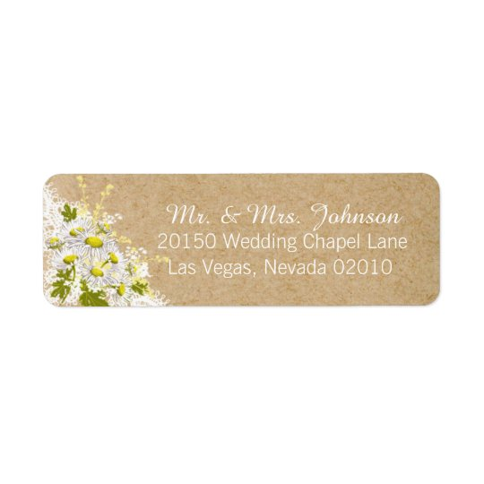 Daisies and Lace Rustic Wedding Label