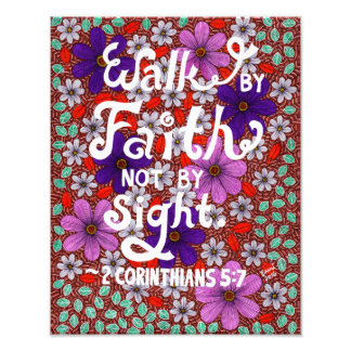 Daisies And Leaves Typography Bible Verse On Faith Photograph