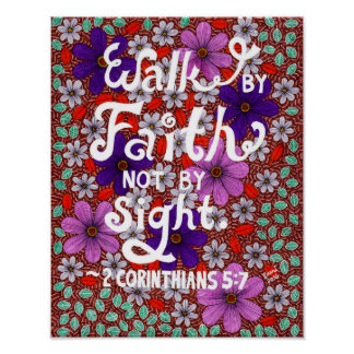 Daisies And Leaves Typography Bible Verse On Faith Poster