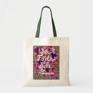 Daisies And Leaves Typography Bible Verse On Faith Tote Bag