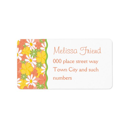 Daisies and Peach Blossoms Address Label