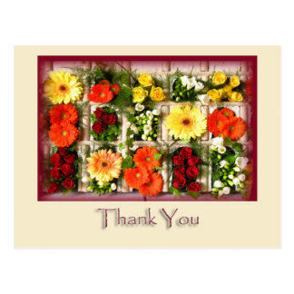 Daisies and Ros Flower Thank You Postcard Template