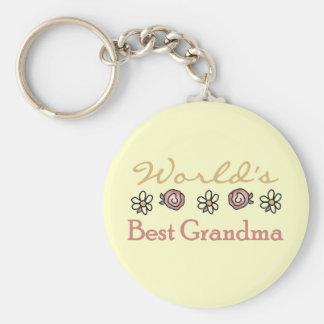 Daisies and Roses World's Best Grandma Key Chain