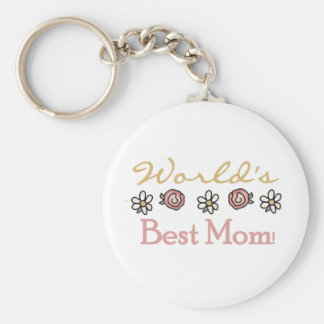 Daisies and Roses World's Best Mom Key Chain