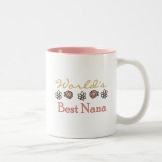 Daisies and Roses World's Best Nana Tshirts Two-Tone Coffee Mug