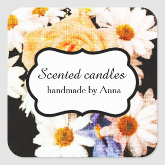 Daisies and yellow rose floral square sticker