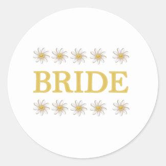 Daisies Bride Round Sticker