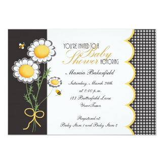 Daisies & Bumble Bee Baby Shower Invitation
