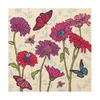 Daisies & butterflies in red, purple, pink & blue wood prints