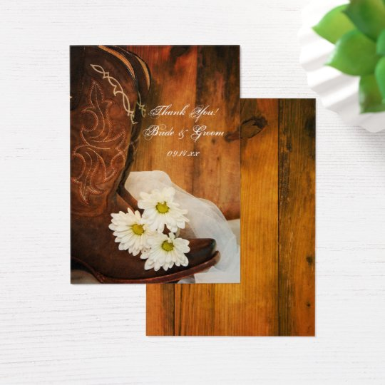 Daisies Cowboy Boots Country Wedding Favour Tags Business