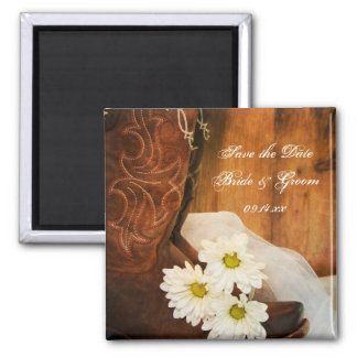 Daisies Cowboy Boots Country Wedding Save the Date Square Magnet