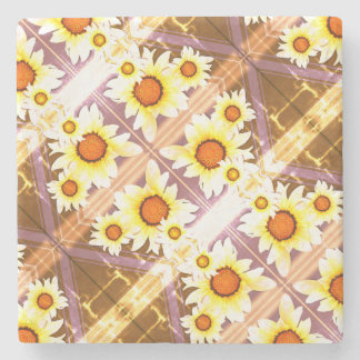 Daisies faded stone coaster