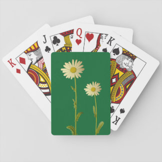 Daisies flowers - green background poker deck