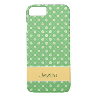 Daisies in a Diamond Pattern on Green iPhone 8/7 Case