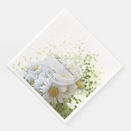 Daisies in Love- Editable Wedding Bouquet Paper Napkins
