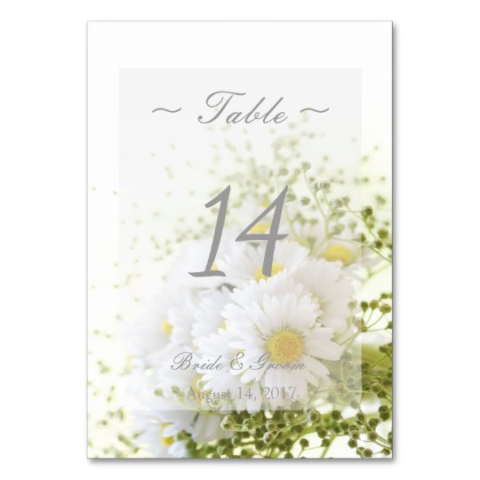 Daisies in Love- Floral Wedding Table Number