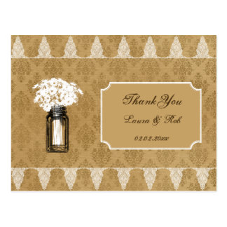 daisies in mason jar, burlap wedding thank you postcard