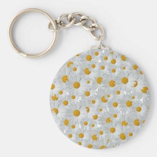 Daisies Basic Round Button Key Ring