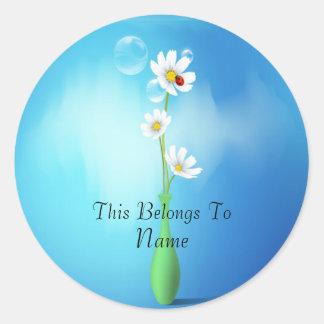 Daisies & Ladybug In A Vase Sticker