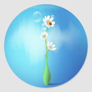 Daisies & Ladybug In A Vase Round Sticker