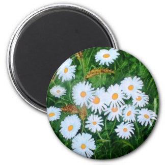 Daisies 6 Cm Round Magnet