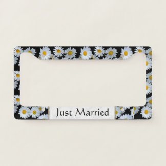 Daisies Newly Wed Floral License Plate Frame