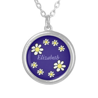 Daisies on a Dark Blue Background Round Pendant Necklace
