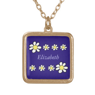 Daisies on a Dark Blue Background Square Pendant Necklace