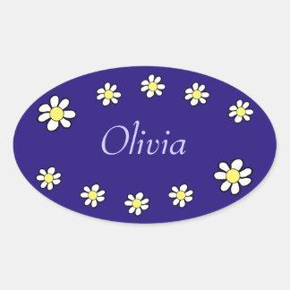 Daisies on a Dark Blue Background Oval Sticker
