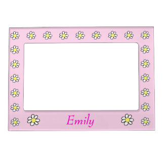Daisies on a Pink Background Magnetic Frame