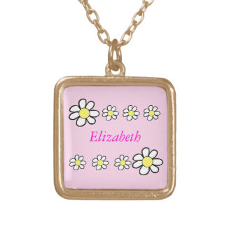 Daisies on a Pink Background Square Pendant Necklace