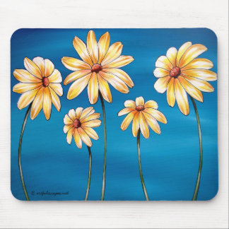 Daisies on Blue Mousepads