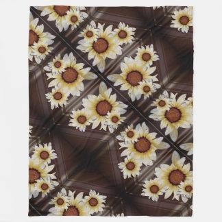 Daisies on brown fleece blanket