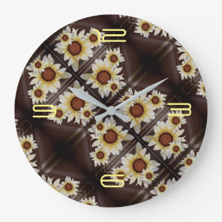 Daisies on brown large clock