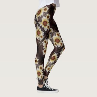 Daisies on brown leggings